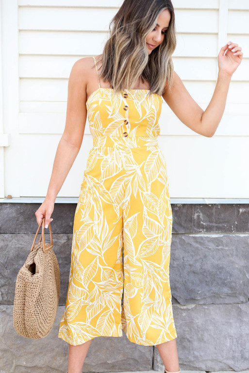 Model wearing Mustard Yellow Jumpsuit Front View