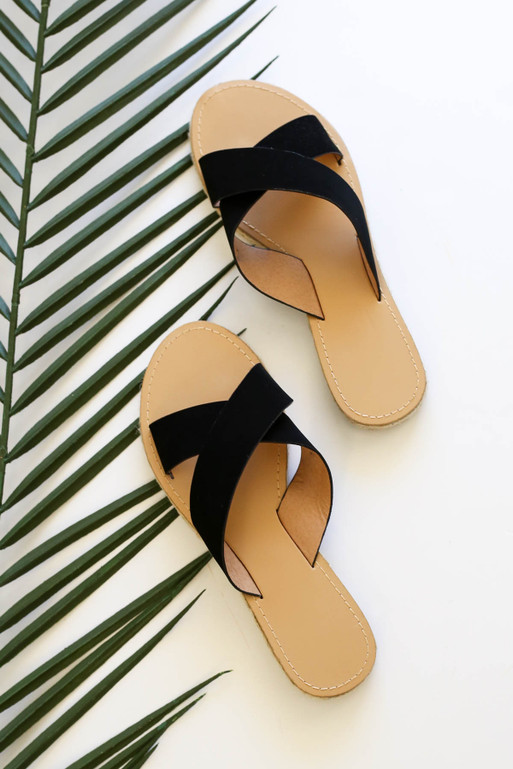 Black - Cross Strap Espadrille Sandals
