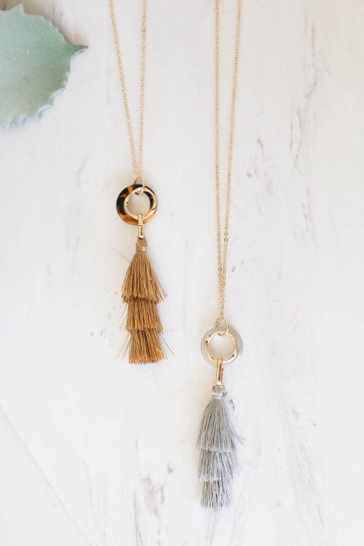 Taupe - and Grey Tassel Necklaces Flat Lay