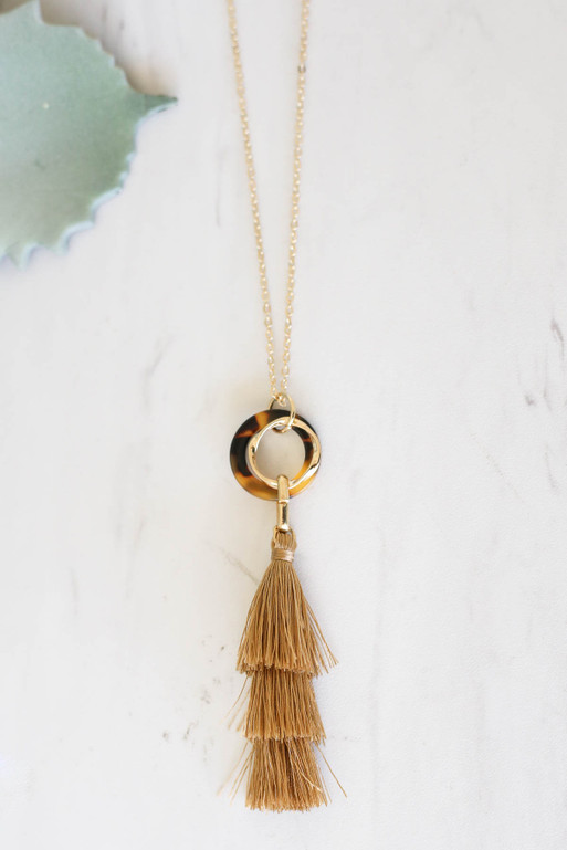 Taupe  Tassel Necklace Flat Lay