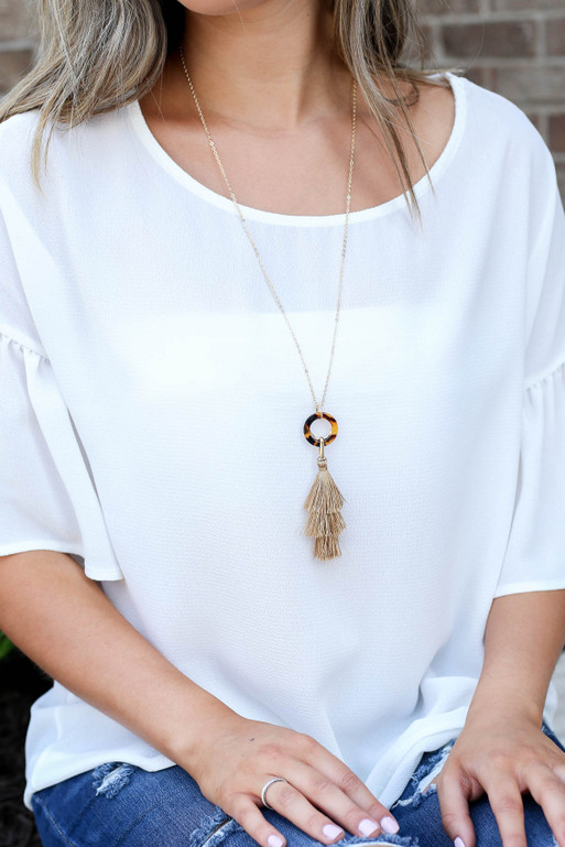 Taupe - Tassel Necklace on Model