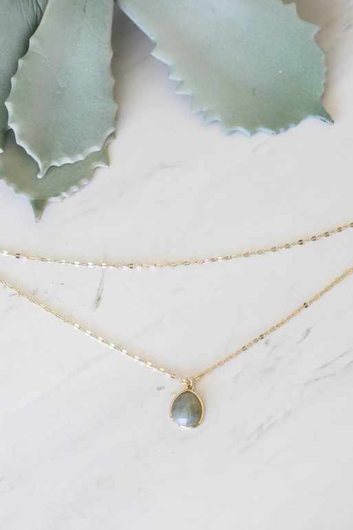 Grey - Layered Stone Necklace