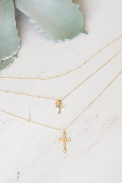 Gold - Layered Cross Necklace Flat Lay