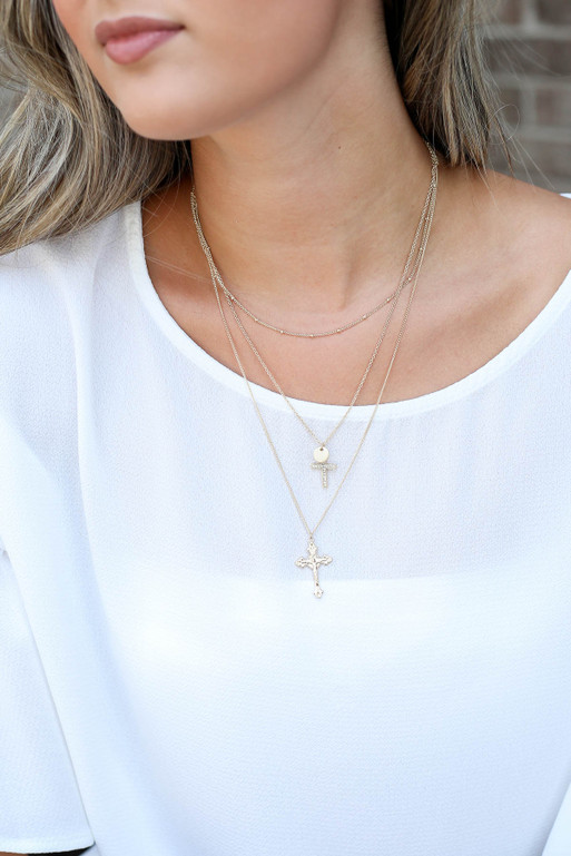 Gold - Layered Cross Necklace on Model
