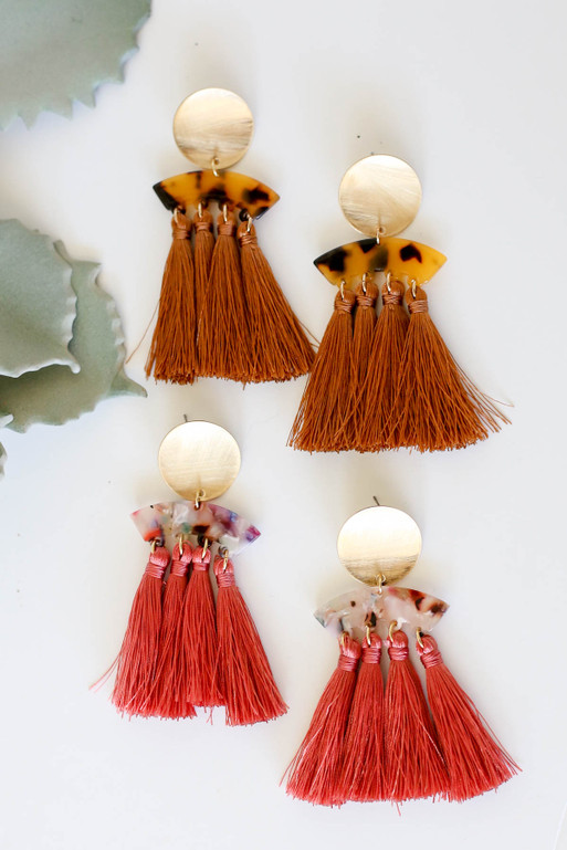 Rust - Acrylic Tassel Earrings Flat Lay