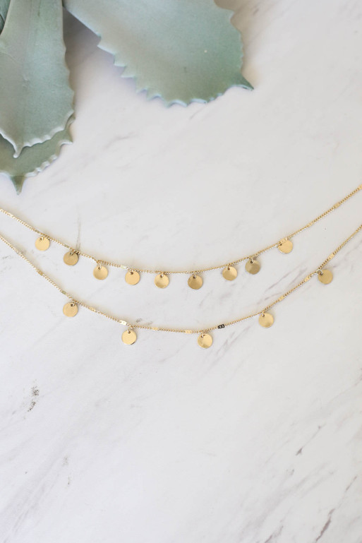 Gold - Layered Circle Charm Necklace Flat Lay