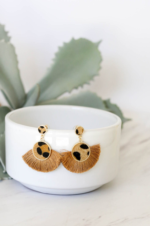 Leopard - Fan Earrings Hanging on Bowl