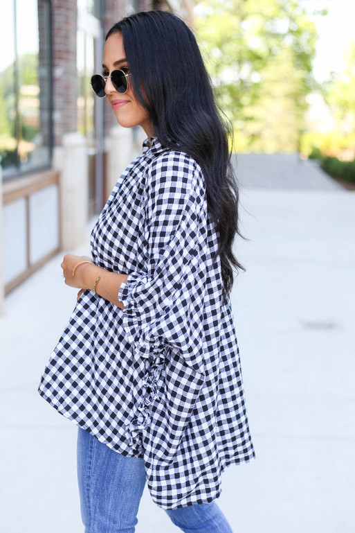 Black - and White Oversized Gingham Top Side View