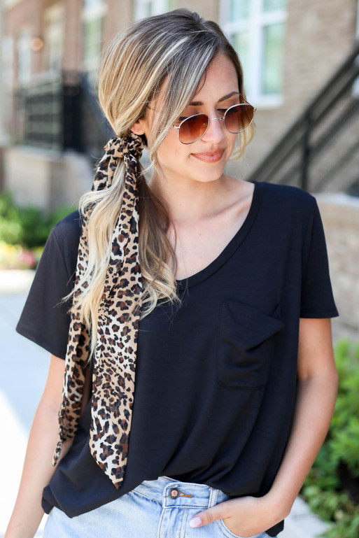 Leopard - Model wearing Leopard Print Pony Scarf