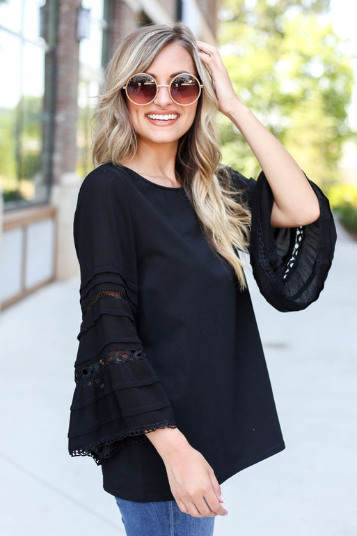 Black - Crochet Bell Sleeve Blouse Side View