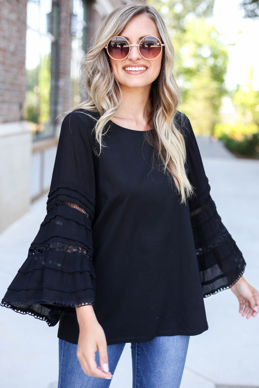 Black - Crochet Bell Sleeve Blouse