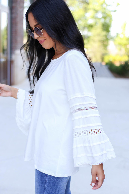 White - Crochet Bell Sleeve Blouse Side View