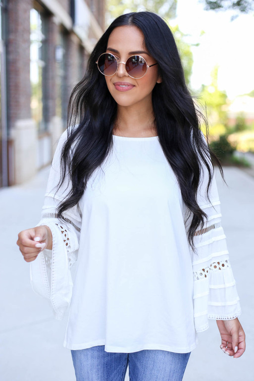 White - Crochet Bell Sleeve Blouse