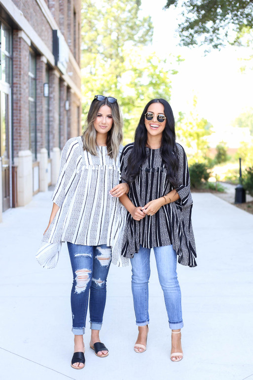 Black - and White Striped Tassel Blouse