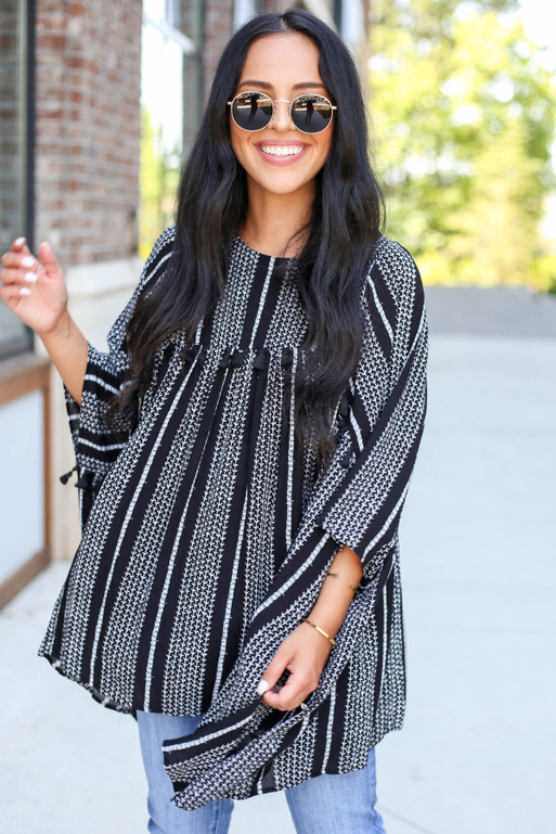 Black - Oversized Striped Tassel Top