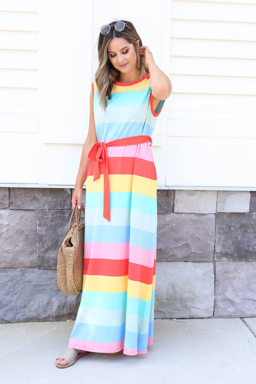 Multi - Striped Belted Maxi Dress Side View