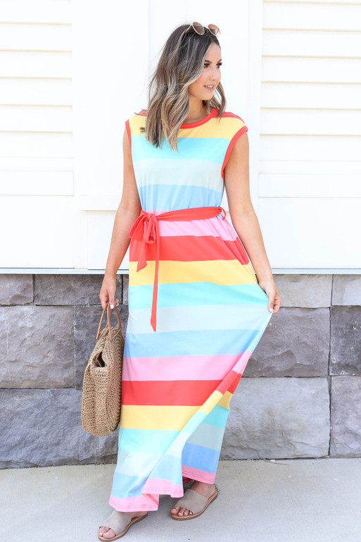 Multi - Striped Belted Maxi Dress