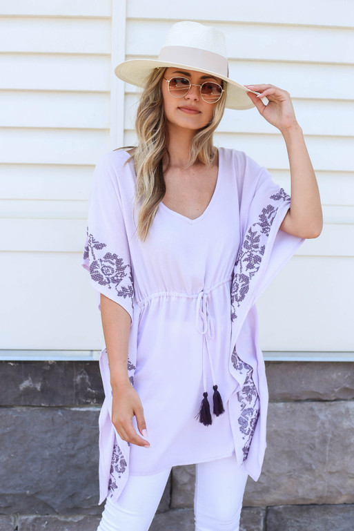 Model wearing Purple Drawstring Embroidered Tunic Front View