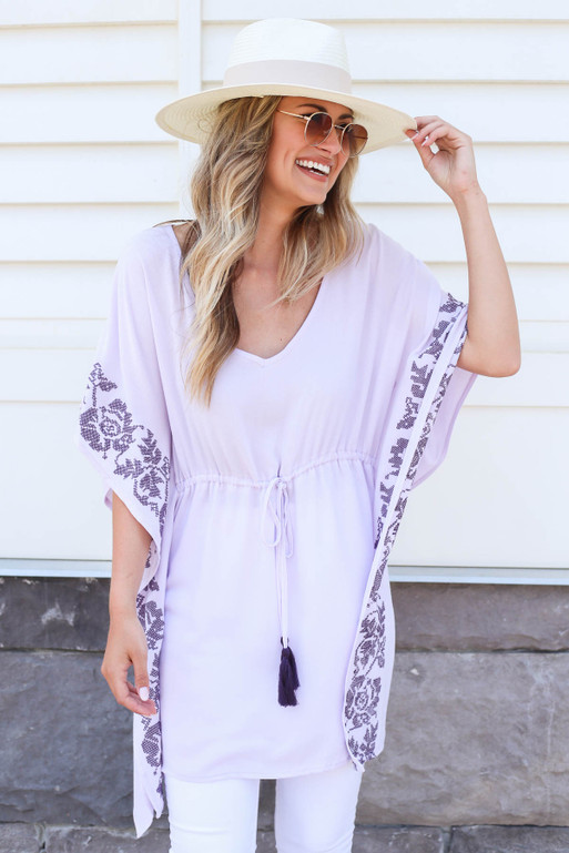 Purple - Drawstring Embroidered Tunic