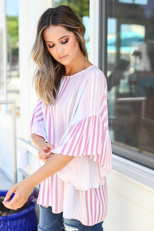 Pink - Multi Stripe Ruffle Sleeve Blouse Side View