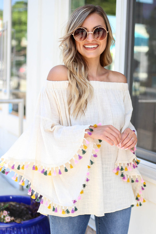 Ivory - Off the Shoulder Tassel Blouse