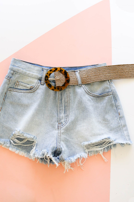 Brown - Woven Tortoise Buckle Belt on Shorts