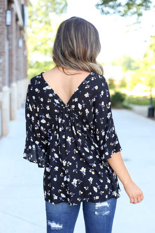 Model wearing Black Floral Button Up Babydoll Top Back View