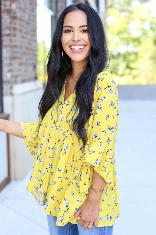 Yellow - Floral Button Up Blouse Side View