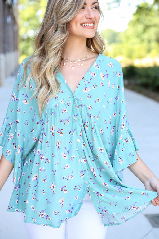 Model wearing Mint Floral Button Up Babydoll Top Detail View