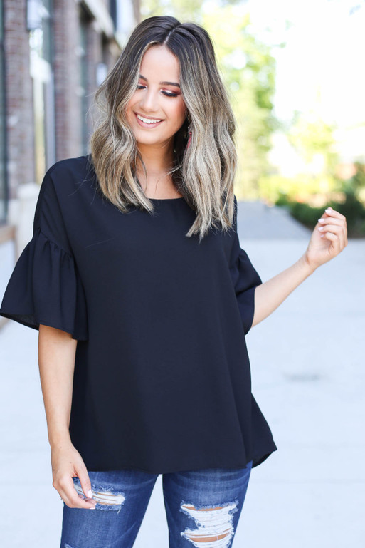 Black - Bell Sleeve Blouse