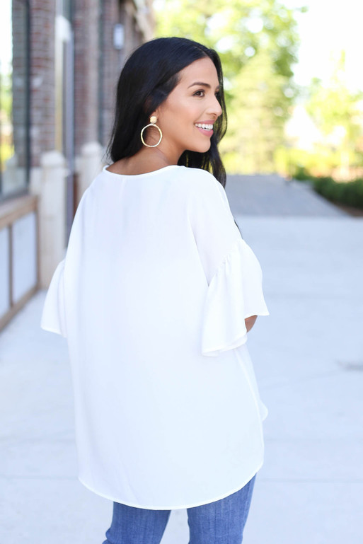 Ivory - Bell Sleeve Blouse Back View
