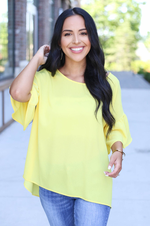 Yellow - Bell Sleeve Blouse