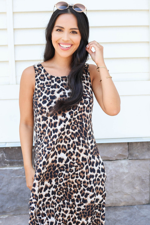 Model wearing Leopard Print Swing Dress Front View