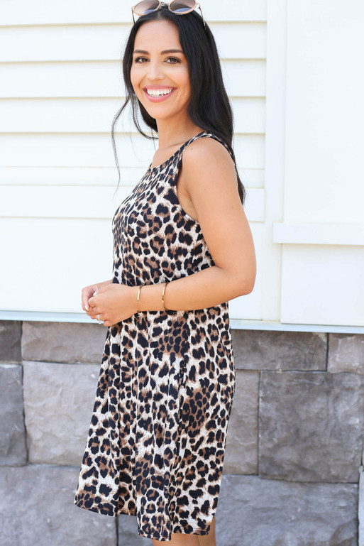 Model wearing Leopard Print Swing Dress Side View