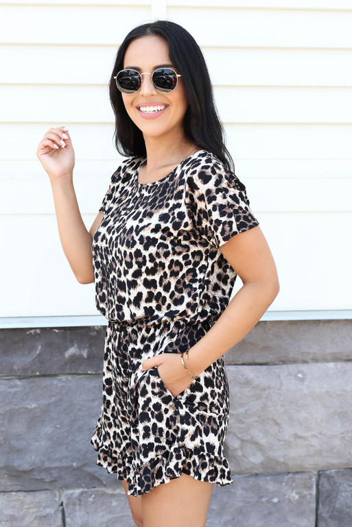 Leopard - Short Sleeve Ruffle Hem Romper Side View