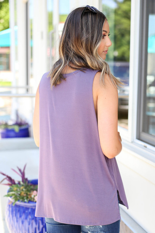 Model wearing Purple All You Need Is Love And Tacos Ribbed Tank Back View