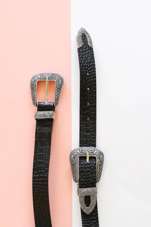 Black Double Buckle Belt with Silver Buckles Detailed Flat Lay