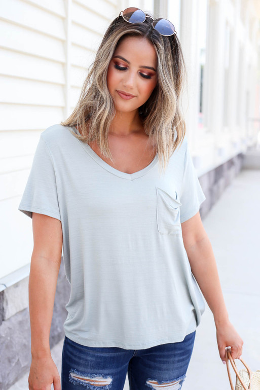 Mint - Relaxed Fit Back Pocket Tee