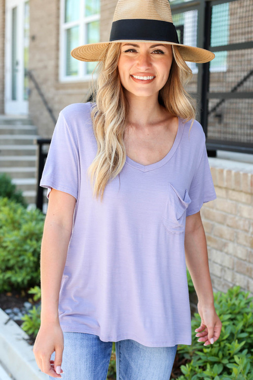 Model wearing Purple Relaxed Fit Pocketed Basic Tee