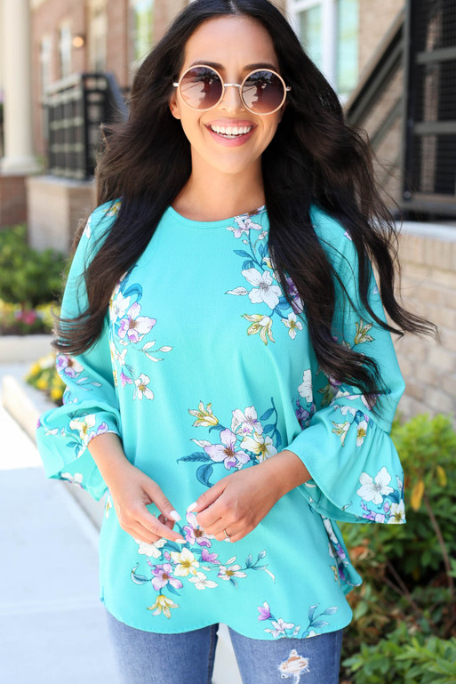 Model wearing Mint Floral Bell Sleeve Blouse Front View