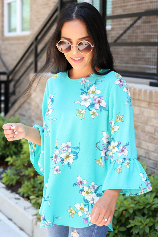 Mint - Floral Bell Sleeve Blouse Side View