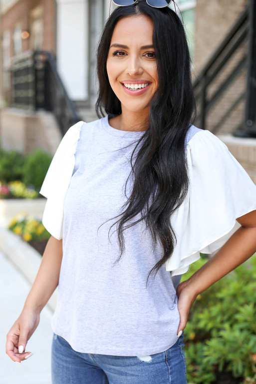 Model wearing Grey and White Flutter Sleeve Tee Front View
