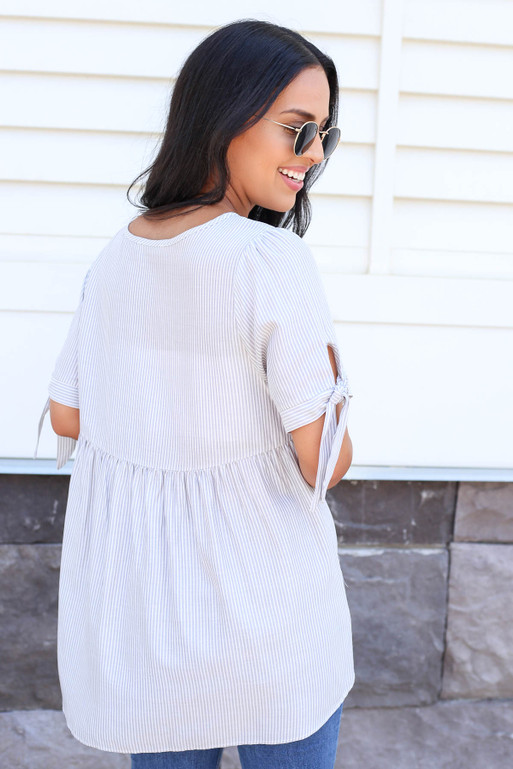 Grey - Striped Tie Sleeve Blouse Back View