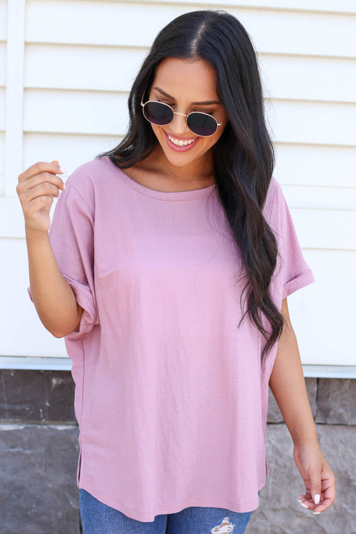 Model wearing a Purple Oversized Exposed Seam Top