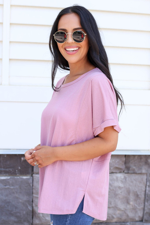 Purple - Oversized Exposed Seam Top Side View