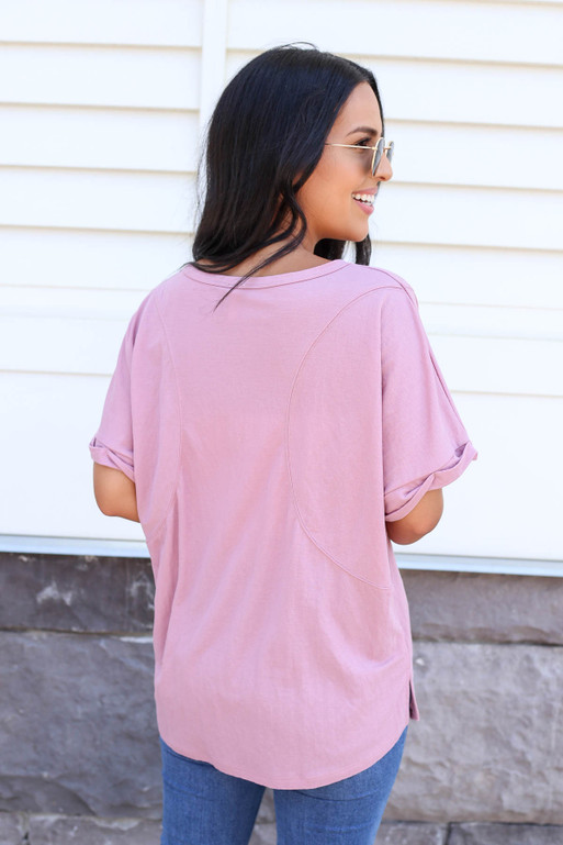 Model wearing a Purple Oversized Exposed Seam Top Back View