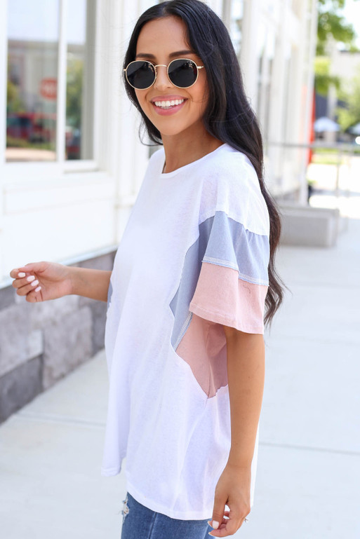 Model wearing White Oversized Color Block Tee Side View