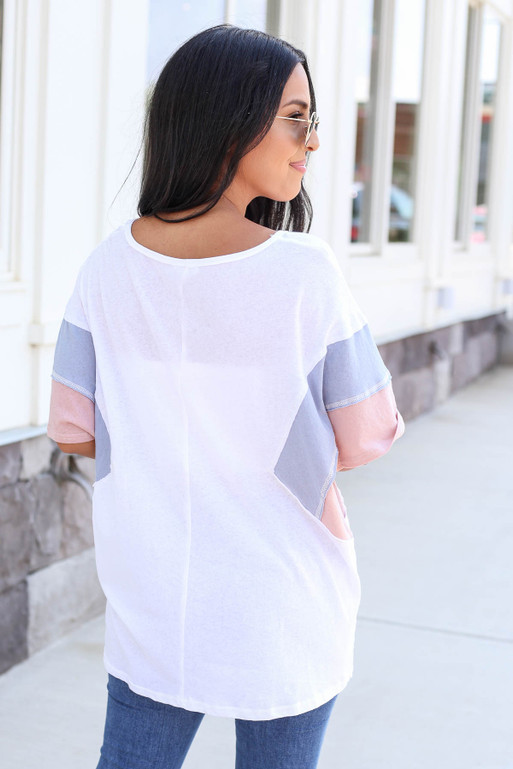 Model wearing White Oversized Color Block Tee Back View