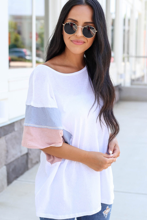 White - Oversized Color Block Tee