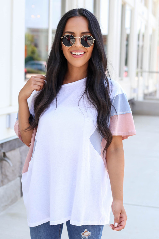 Model wearing White Oversized Color Block Tee Front View